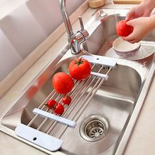 New retractable Stainless steel sink drainer ,Fruit Vegetable Shelf, Dryer storage Rack Holder Tray