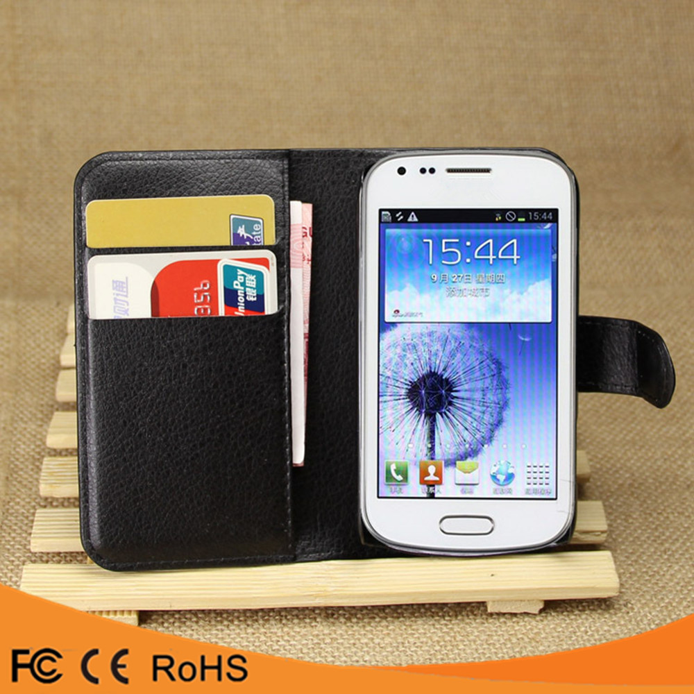 Hot selling leather flip PU case back cover case for samsung galaxy tren duos s7562
