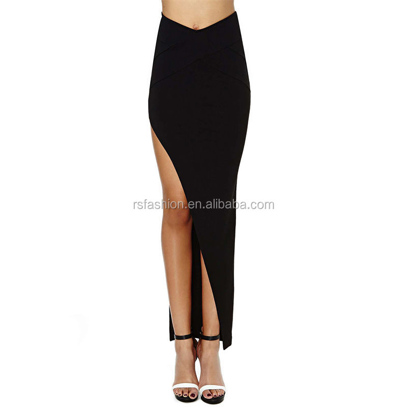 Women'S Rayon Span Polyeste Maxi Skirt Solid