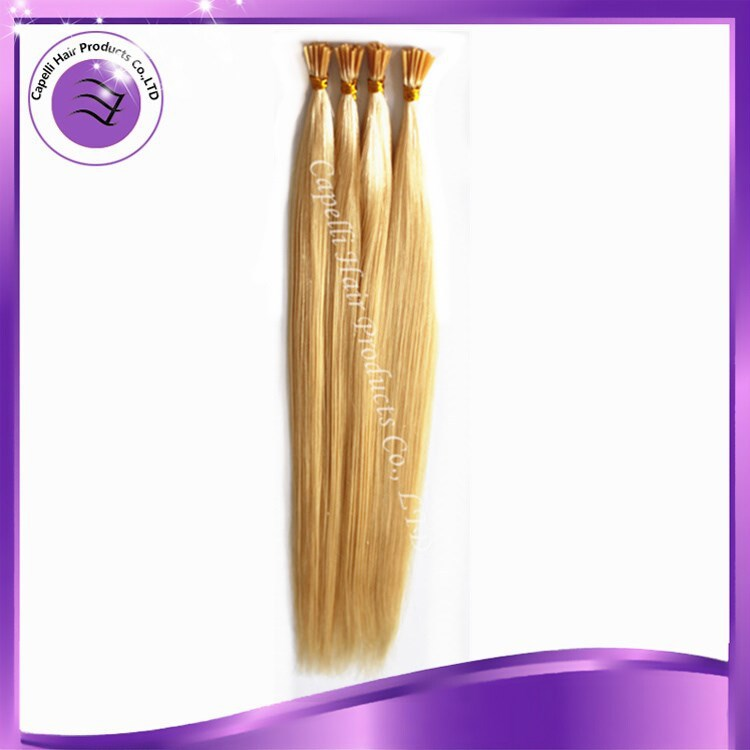 factory price wholesale brazilian I-tip hair extension 20inch human remy hair cheap prebonded hair 100strands/pack #613
