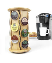 Bamboo Carousel K-Cup Holder 18 K-Cup coffee capsules rack
