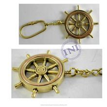 Brass Small Ship Wheel Keychain, Quality Brass Keychain, Designer Unique Keychain