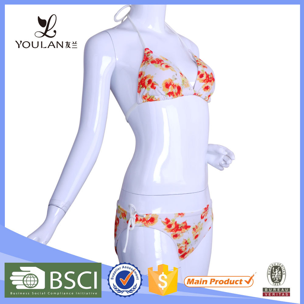Customized LOGO Brocade Flower Open Sexy Xxx Hot Sex Bikini Young Girl Swimwear Photo Of Wireless