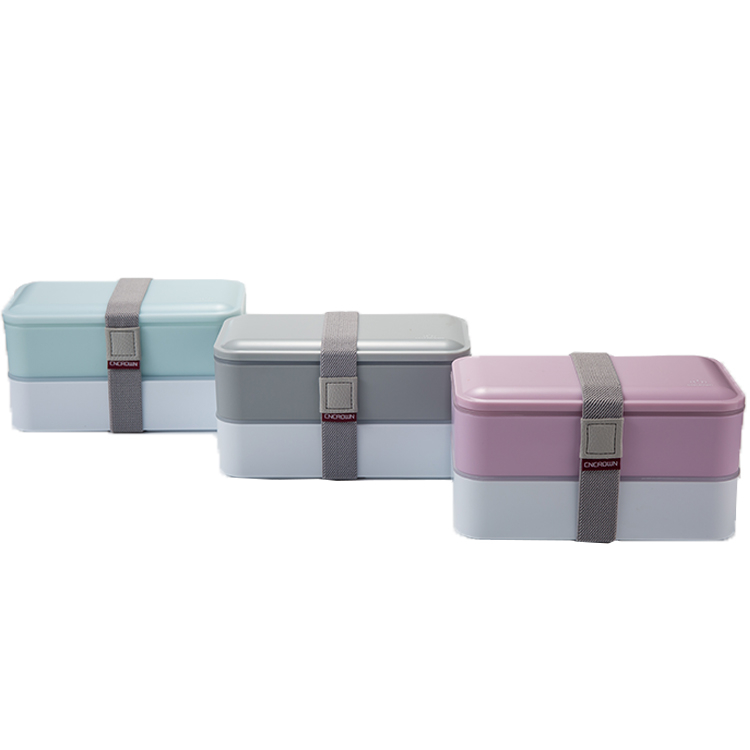 2 Layer Fashion High Quality Kids Custom Print Storage Lunch Box Food Container With Cutlery