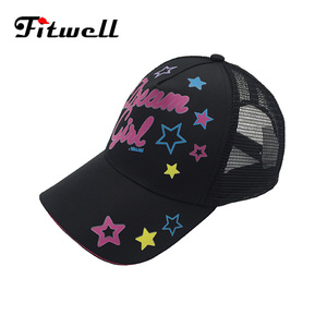 Fashion printed mesh 5 panel tucker baseball girl cap