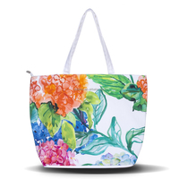 New Arrival Vintage Floral Printed Handbags Simple Style Female Canvas Beach Bag Fashion Women Single Shopping Shoulder Bags