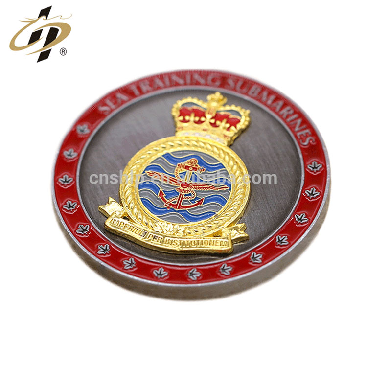 Custom zinc alloy antique silver gold enamel metal challenge coin