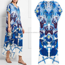 2016 Fahion design ladies long dry clean V neck silk print dubai kaftan dress