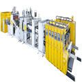 HIGH speed automatic felxo printer slotter die-cutter and folder gluer strapping production line