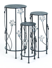 Deco 3-Piece Metal Flower Pot Stand set , Round