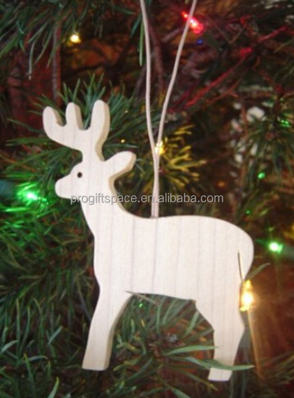2017 new hotsale handmade cheap wholesale high quality hanging white ornaments wooden reindeer decor Christmas wood carving deer