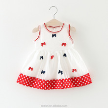 HT-BGCD Western Sweet Hot Sale Summer Baby Girls Cotton Dresses Kids Girl Princess Dress Baby Cotton Frocks Designs