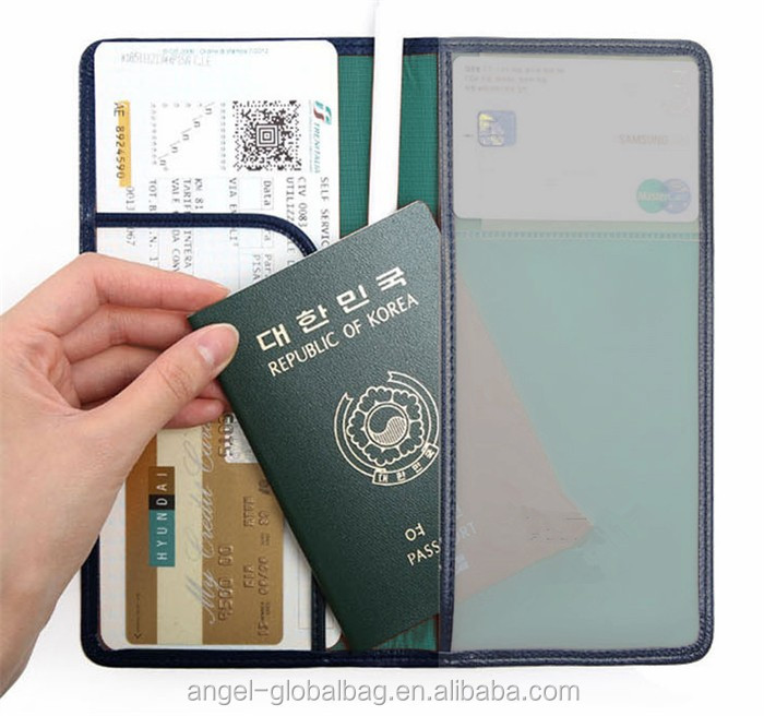 Wholesale korea airline ticket travel pu leather passport holder
