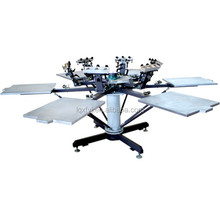 6 color six station manual rotary screen printing press with mico registration