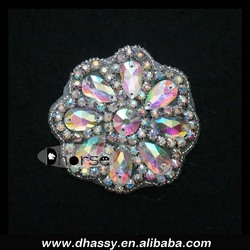 Wholesale glass stone ab crystal sliver beaded rhinestone diamond applique DH-829