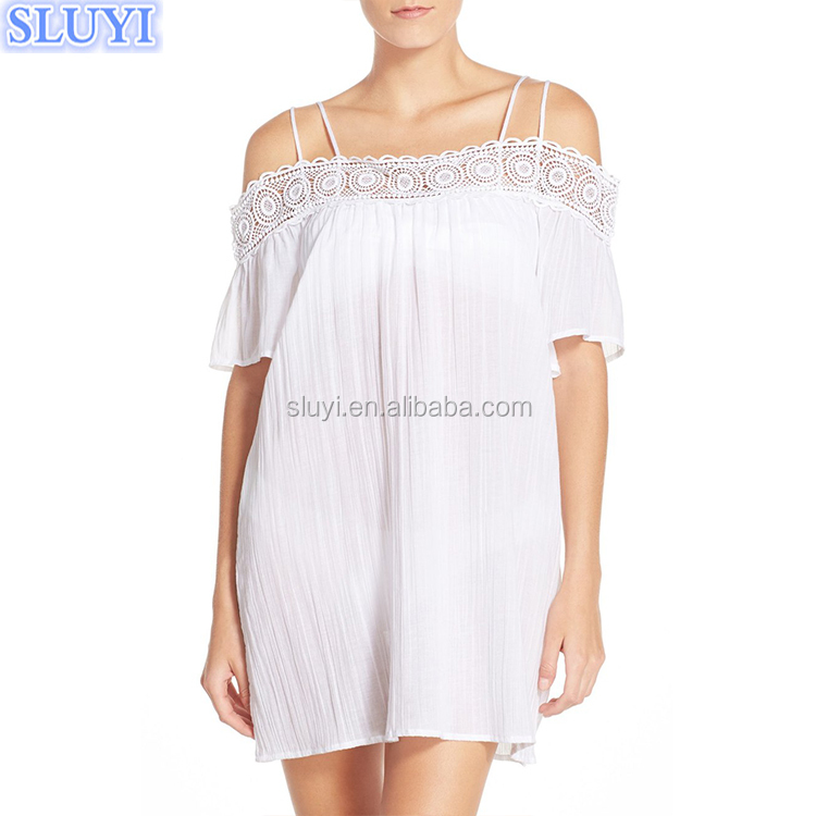 women swim cover up cotton fabric write embroidered off shoulder bikini beach cover up moroccan caftan design