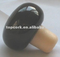 Wooden cap synthetic cork wine bottle stopper TBW20-black-showpiece