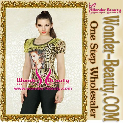 Casual Women Blouse Fashion Leopard Printed Short Sleeve Tops