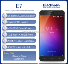 Blackview E7 4G Mobile Phone 5.5 inch IPS HD MTK6737 Quad Core Android 6.0 1GB RAM 16GB ROM 8MP CAM Fingerprint ID Smartphon