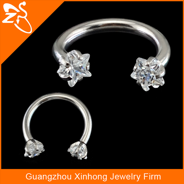 Surgical Steel Circular Barbell Horseshoe Ring Eyebrow Lip Nipple Labret Body Piercing Jewelry with heart shape zircon