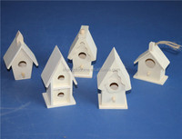 2015 new unfinished small wood craft bird house model wholesale