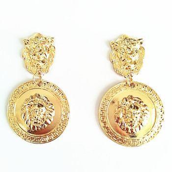 Fashion Metallic Design Gold Plating Zinc Alloy Lion Pattern Coin Drop Earrings For Woman