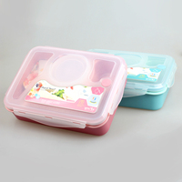 Leakproof Plastic Food Container 3 Compartments Lunch Bento Box with Spoon