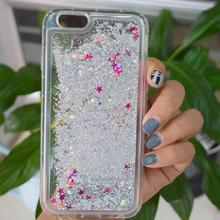 Bling glitter liquid clear floating quicksand mobile phone case for iphone 7