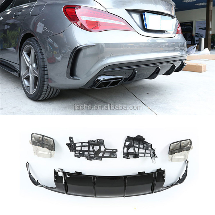 High quality PP Rear Bumper Lip Diffuser with Exhaust Tips for Mercedes-Benz CLA Class <strong>W117</strong> CLA260 CLA45 AMG Style 2013-2018