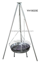 Stainless Steel adjustable cooking height tripod BBQ fire pit, with swinging chain