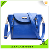 long strap with outer zipper navy blue color fashion PU shoulder bag for women