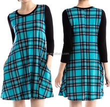 wholesale apparel women plaid pattern pocket dress summer wear ladies clothing factories in china