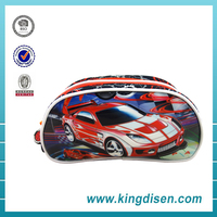 Fashion stationary PVC racing car 2 layer pencil case for kids