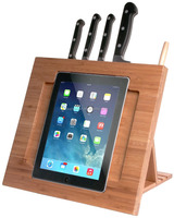 2015 new design Bamboo Adjustable Kitchen Stand for pad with Knife Storage ipad holder wholesale