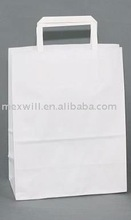 plain flat handle white grocery paper bag