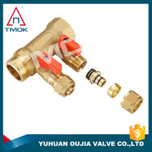 Yuhuan TMOK factory direct supply, brass two way/three way/four way manifold heating/cooling system water segregator