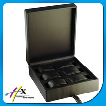 Black color 6 slot leather watch box, square shape watch packaging box made in china