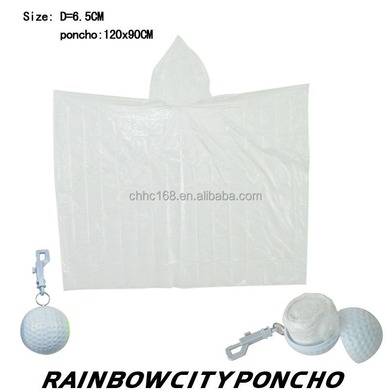 disposable waterpoof ball packed PE raincoat rain cape poncho with keychain
