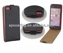 Black flip PU case leather case pouch for iphone 5C