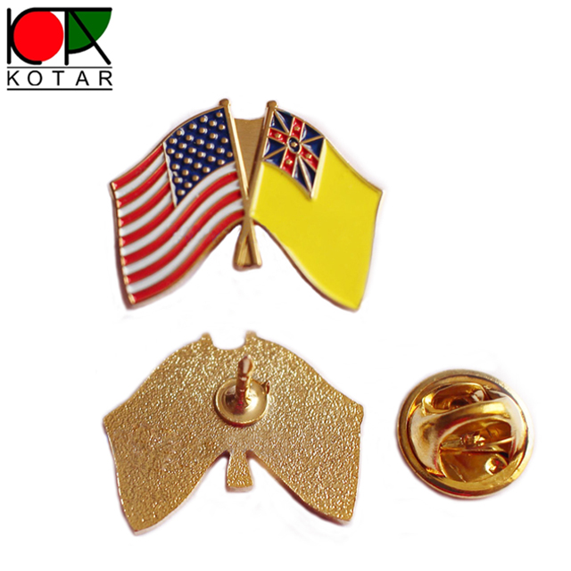 Wholesale Iron soft enamel gold plated american flag lapel pin