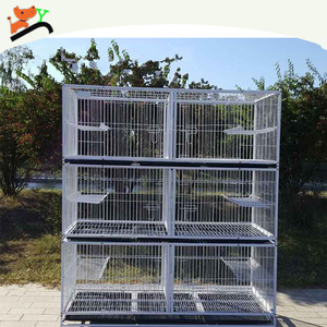 Strong Wire Three Layers Cat Cage White Pink