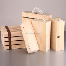 Wholesale custom logo printed pine wood wine boxes with rope handle