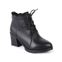2017 china wholesale good quality rubber square sole autumn winter leather ankle boots for women