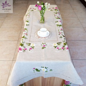 Table cover custom rectangular linen table cloth wedding decoration floral hand embroidery table cloth 54 inch by 72 inch