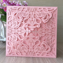 MEIHAO lace cut wedding decoration invitation card four folded pink color greeting card wedding invitation card laser cut QJ-162