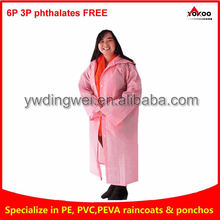 EVA Long raincoat rainwear, women in pink raincoat