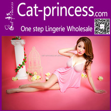 Pink wholsales cheap transparent lingerie babydoll