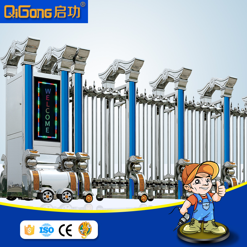 Automatic retractable fence gate of stainless steel new style automation china in guangdong QI Dong Cheng Gong