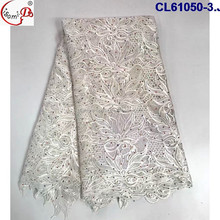 China Supplier best selling African black embroidery flower guipure lace 2017 wedding bridal white color heavy lace fabric
