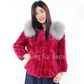 CX-G-A-81B Knit Mink Fur Bolero Jacket With Fur Fox Trim